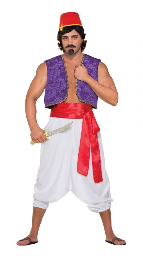Adult Genie Vest Costume Aladdin Lamp Magician Fancy Dress Outfit